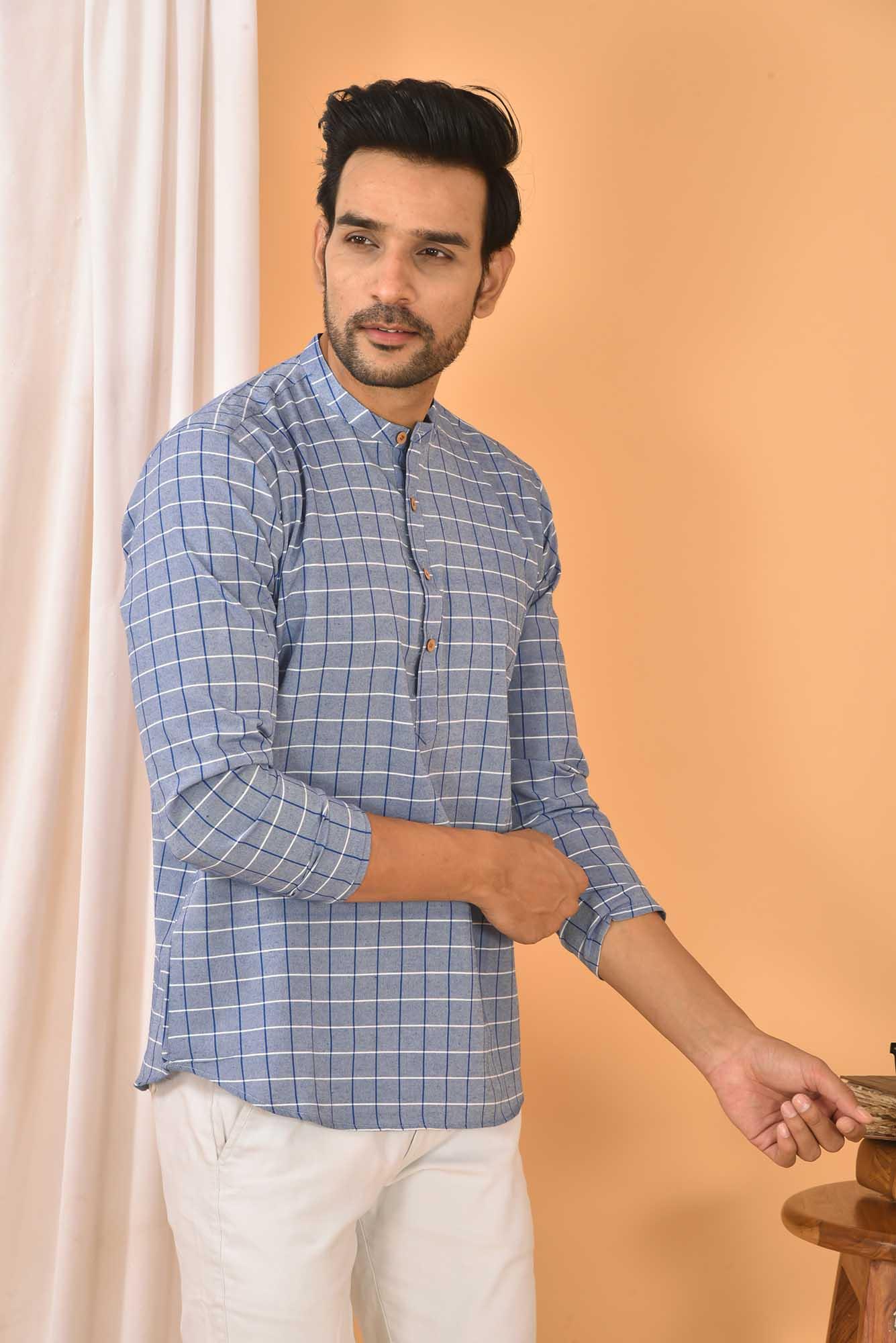 Cotton Handloom Checks Short Kurta Denim and White-36843
