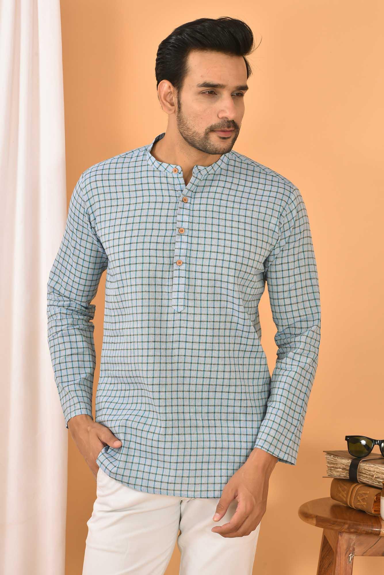 Cotton Handloom Checks Short Kurta Sky Blue and Black-36842