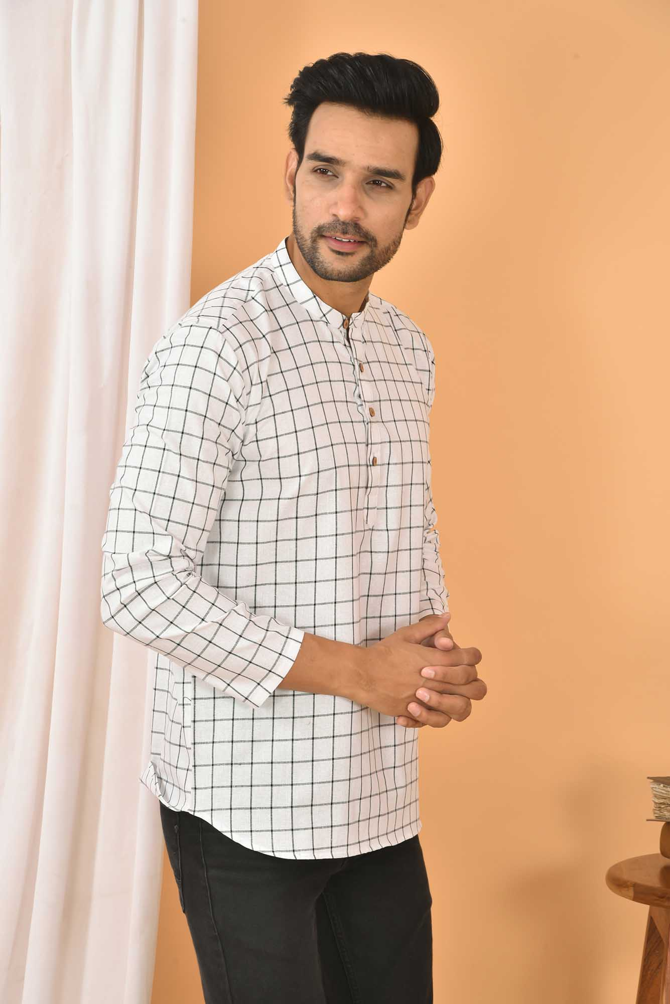 Cotton Handloom Checks Short Kurta White and Black-36832