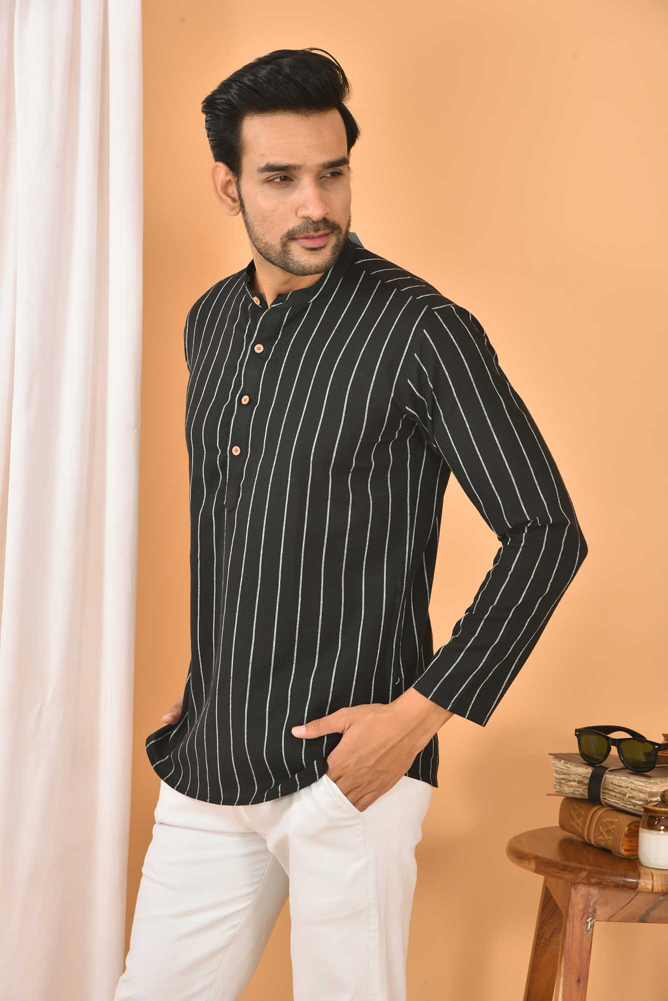 Cotton Handloom Stripe Short Kurta Black and White-36846
