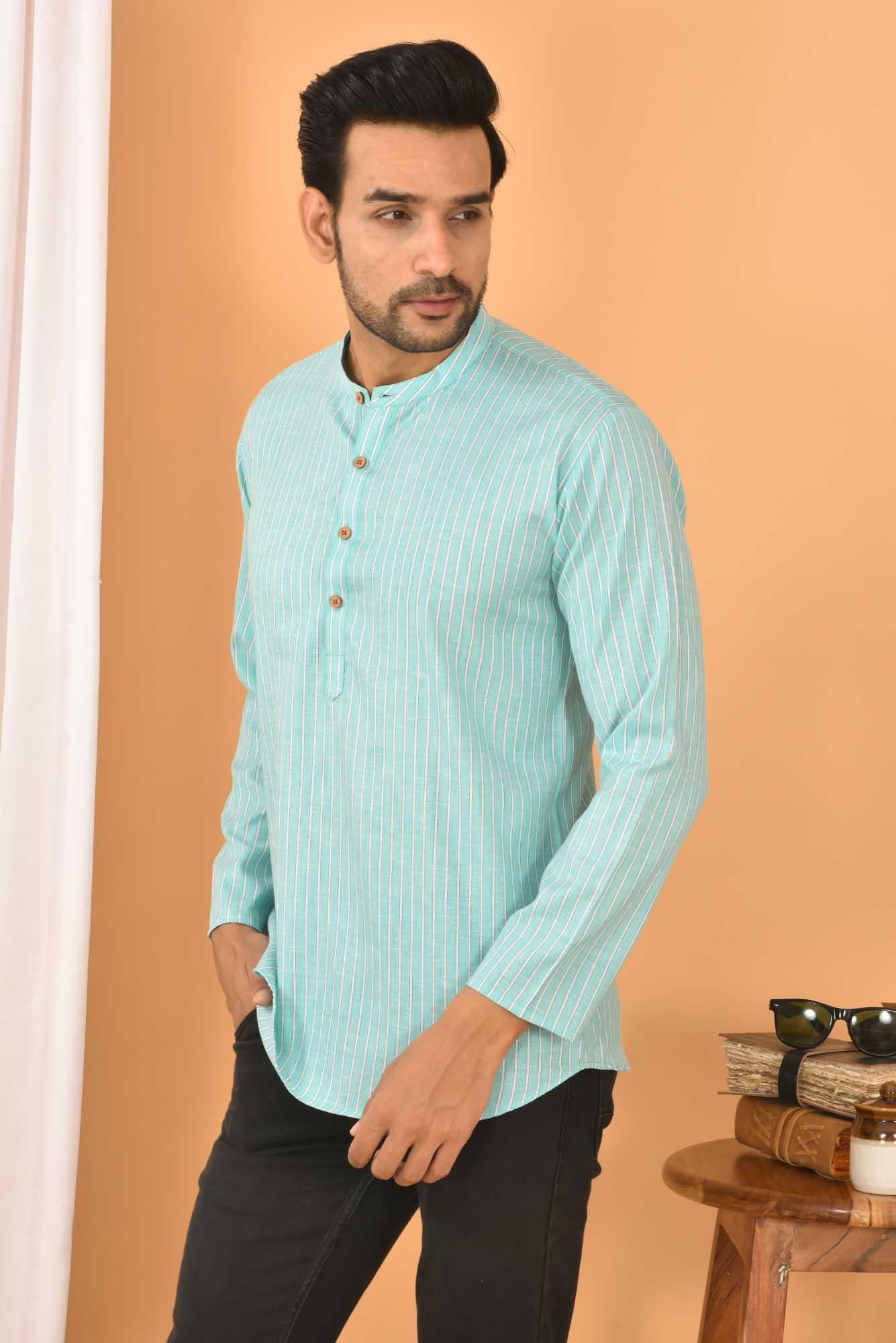 Cotton Handloom Stripe Short Kurta Cyan and White-36837