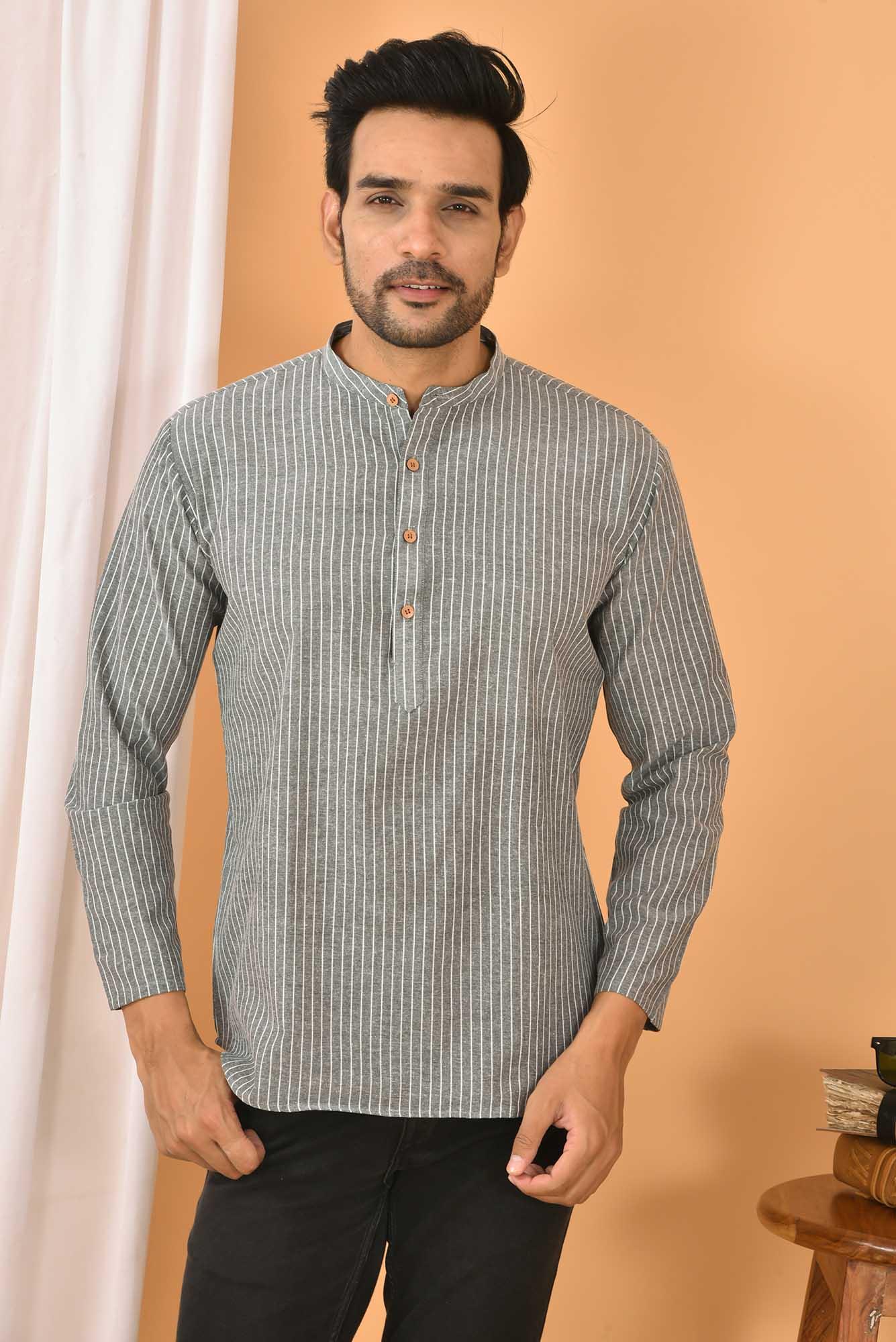 Cotton Handloom Stripe Short Kurta Gray and White-36835