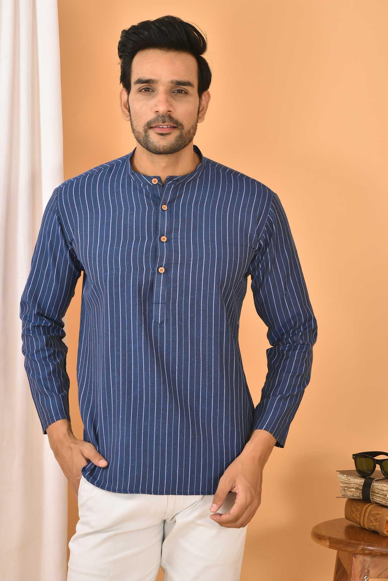 Cotton Handloom Stripe Short Kurta Navy Blue and White-36844