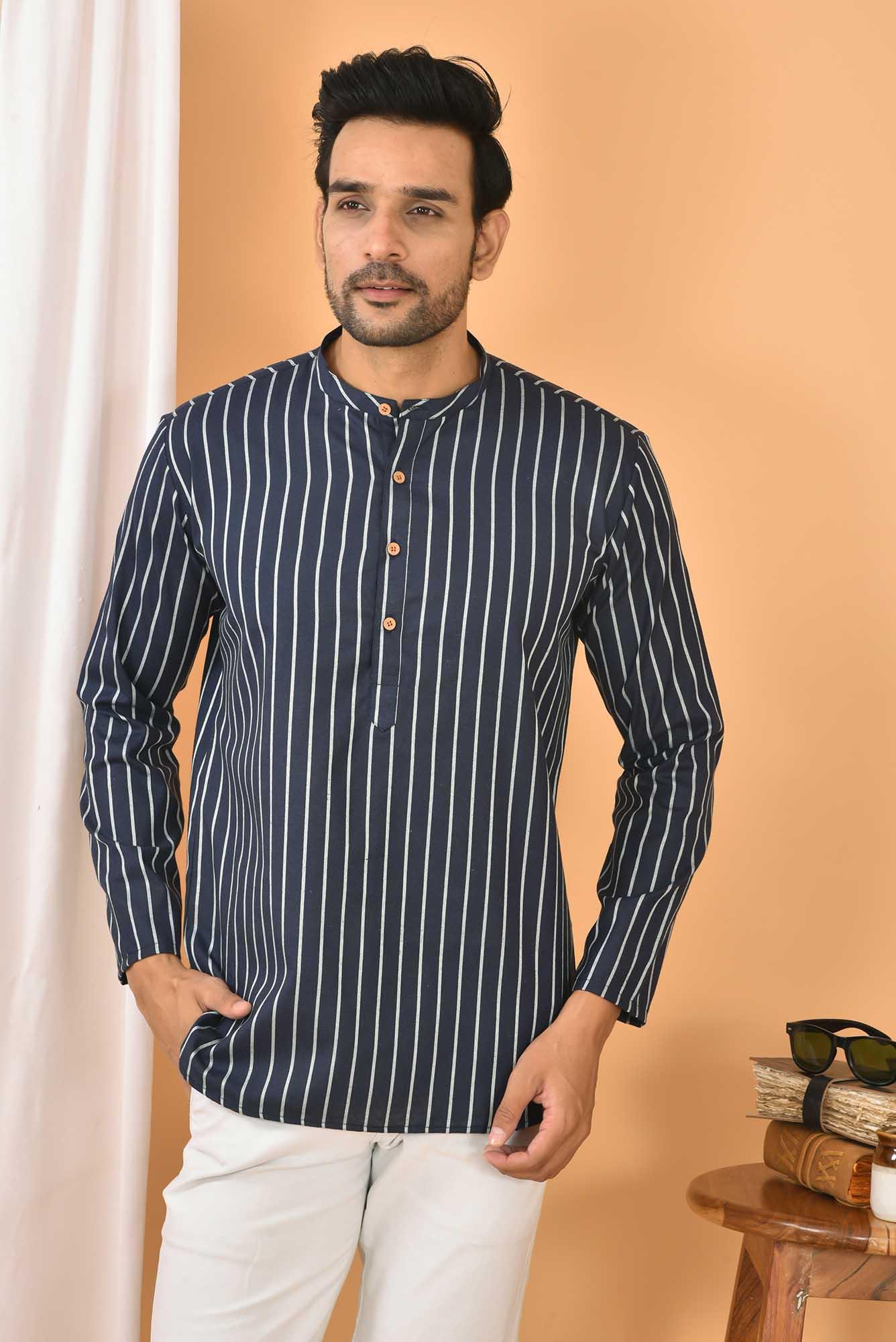 Cotton Handloom Stripe Short Kurta Navy Blue and White-36847
