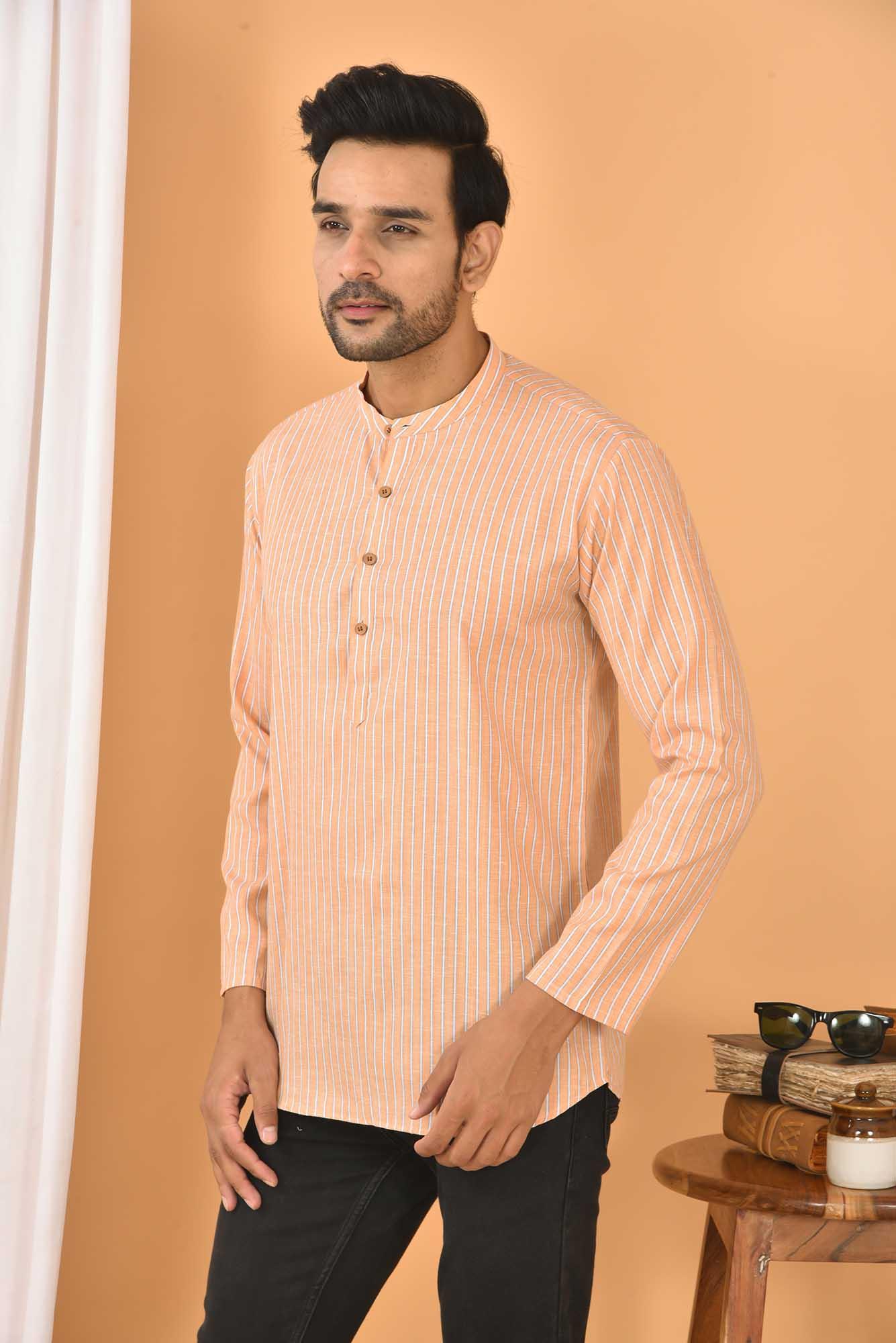 Cotton Handloom Stripe Short Kurta Peach and White-36831