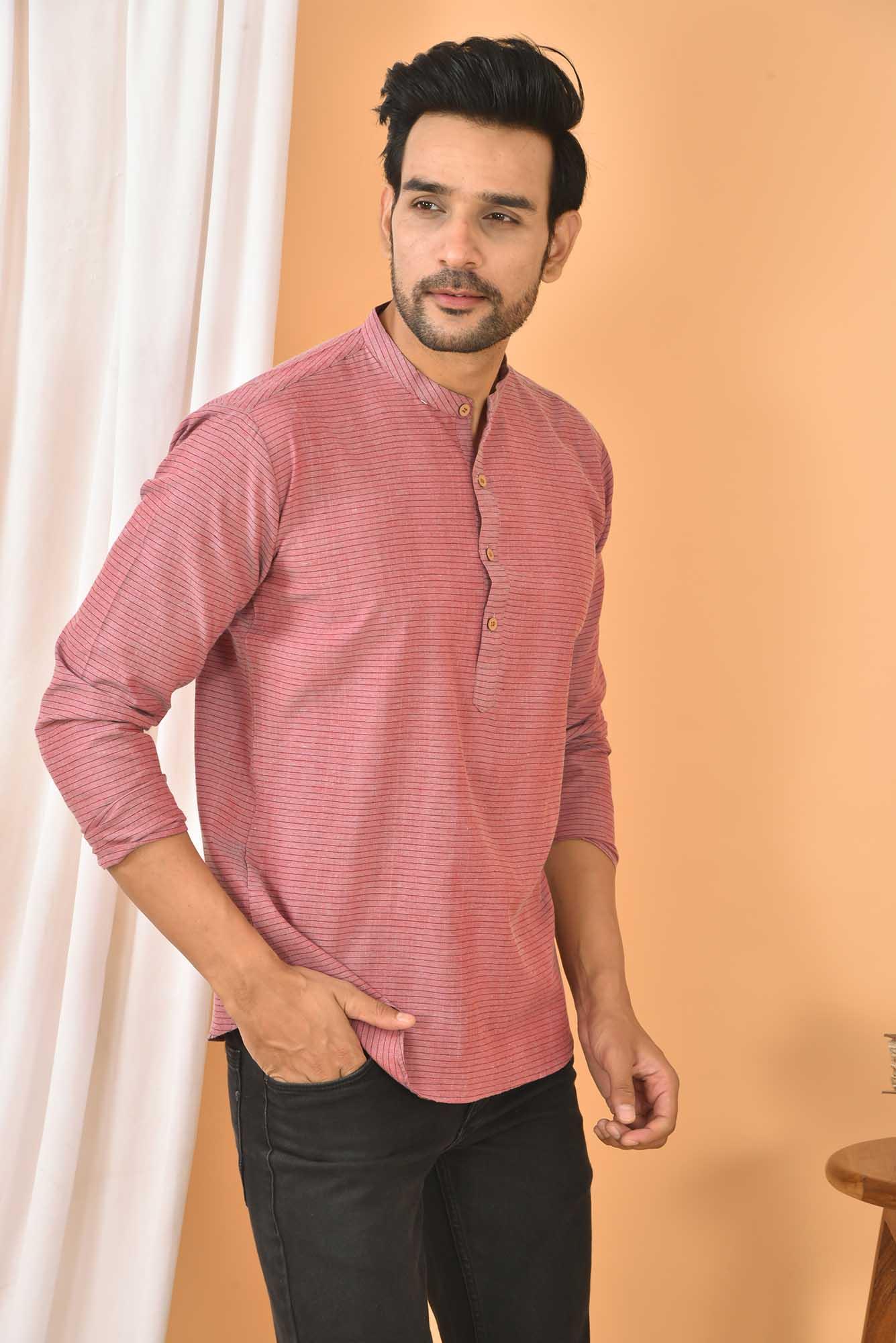 Cotton Handloom Stripe Short Kurta Pink and Black-36829