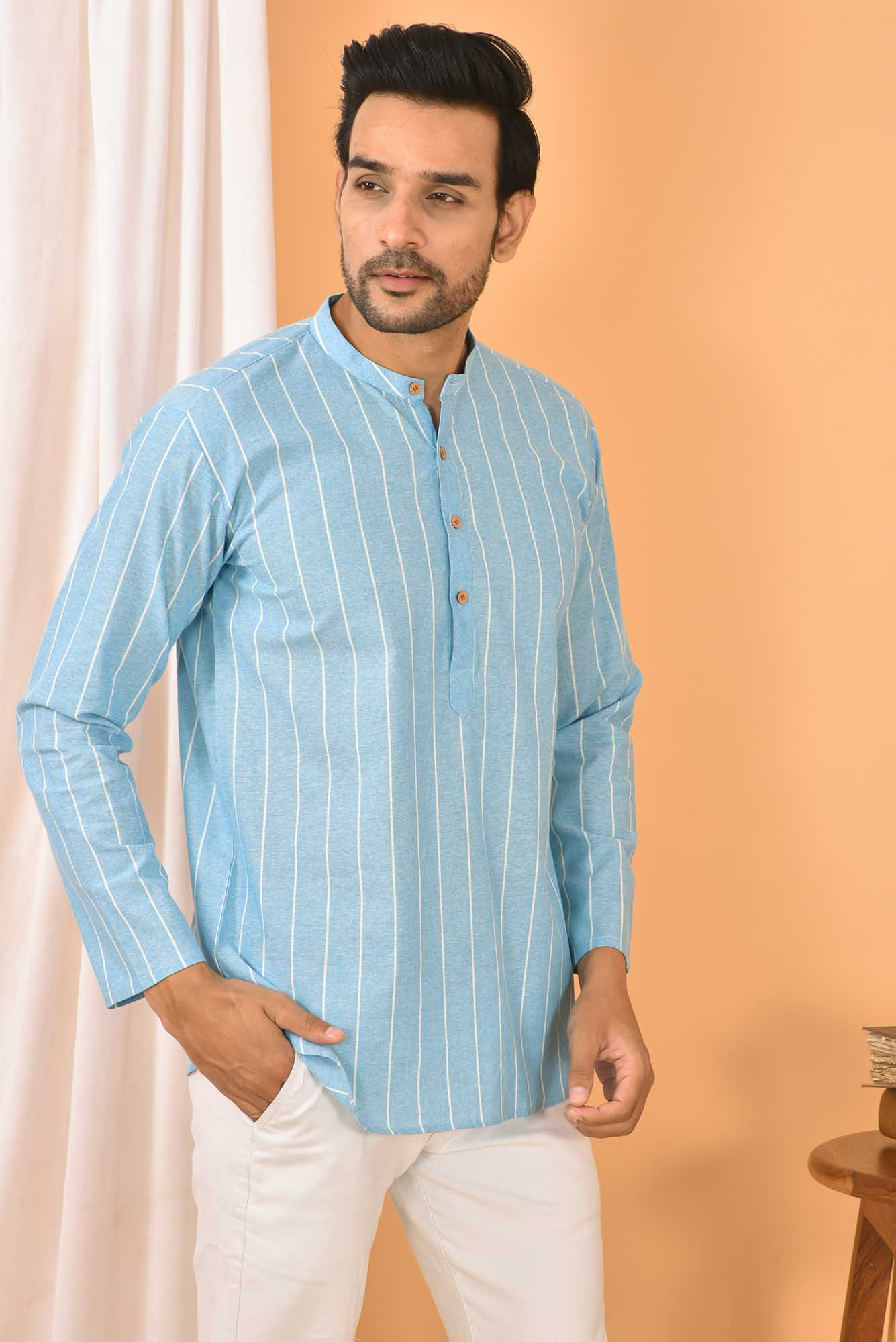 Cotton Handloom Stripe Short Kurta Sky Blue and White-36841