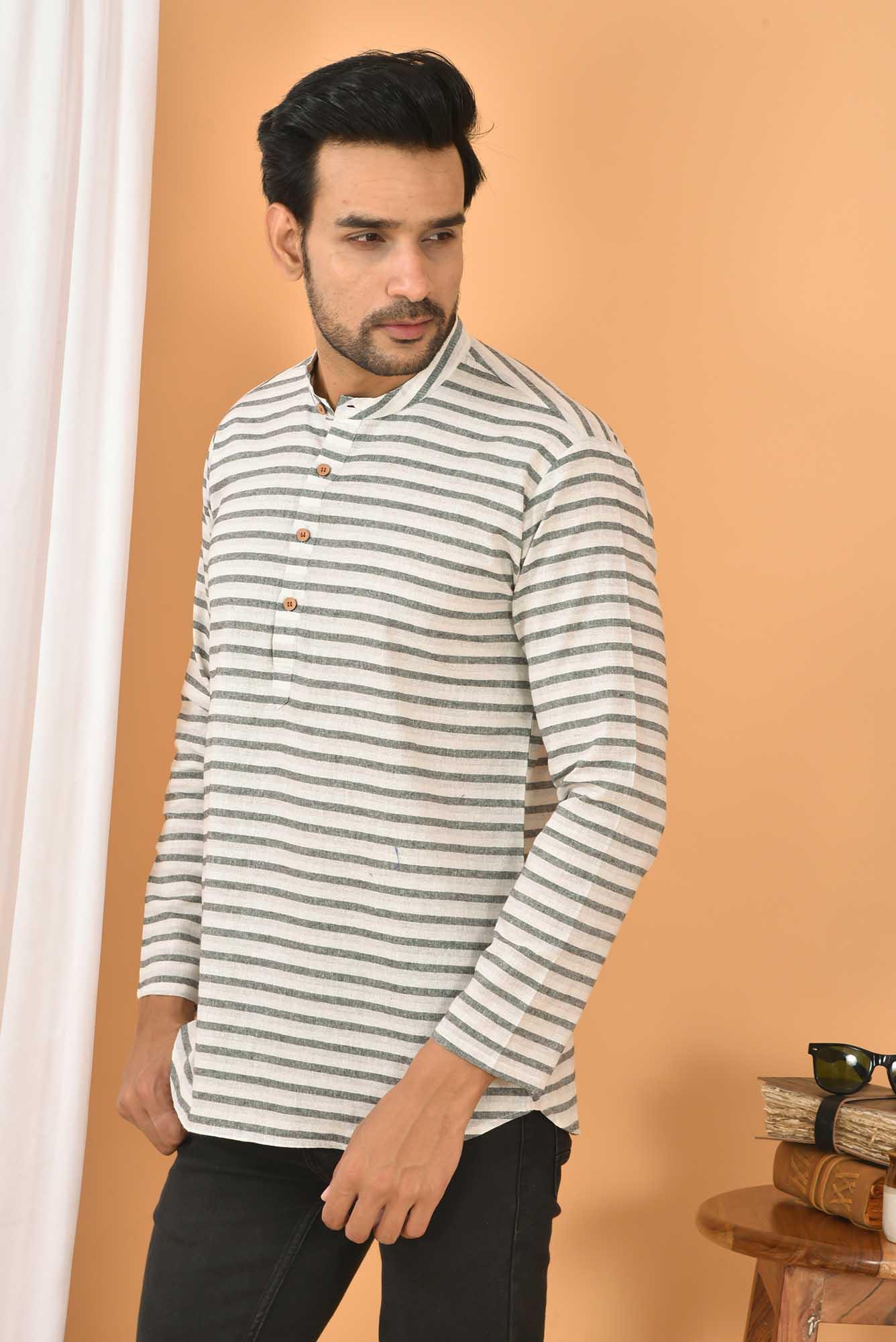 Cotton Handloom Stripe Short Kurta White and Black-36830