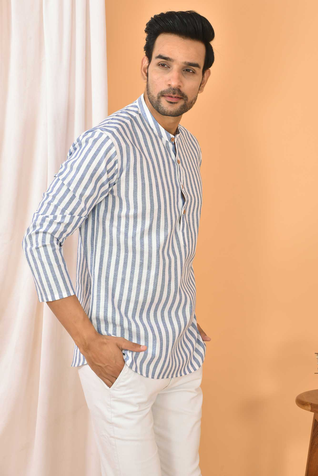 Cotton Handloom Stripe Short Kurta White and Blue-36845