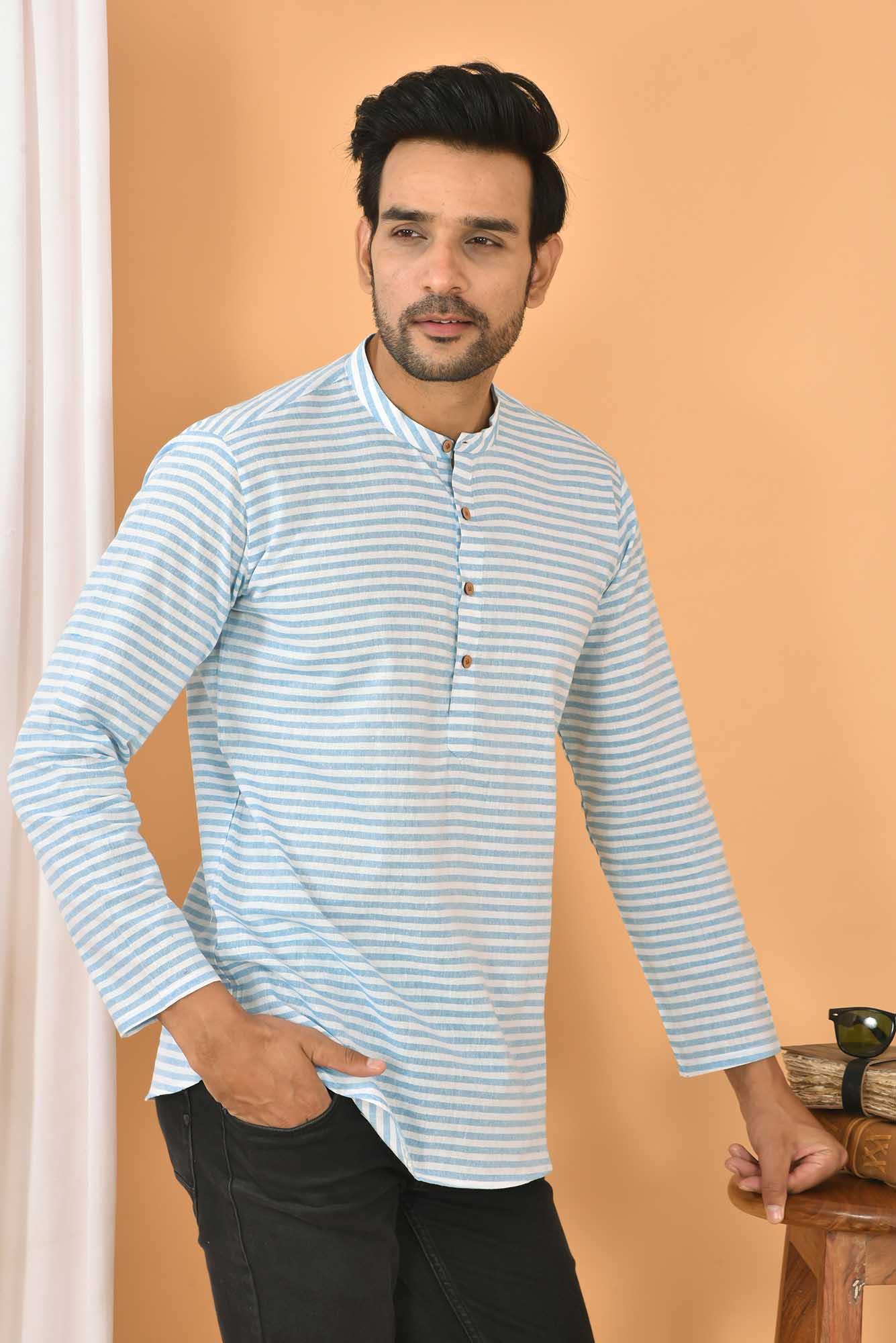 Cotton Handloom Stripe Short Kurta White and Cyan-36833