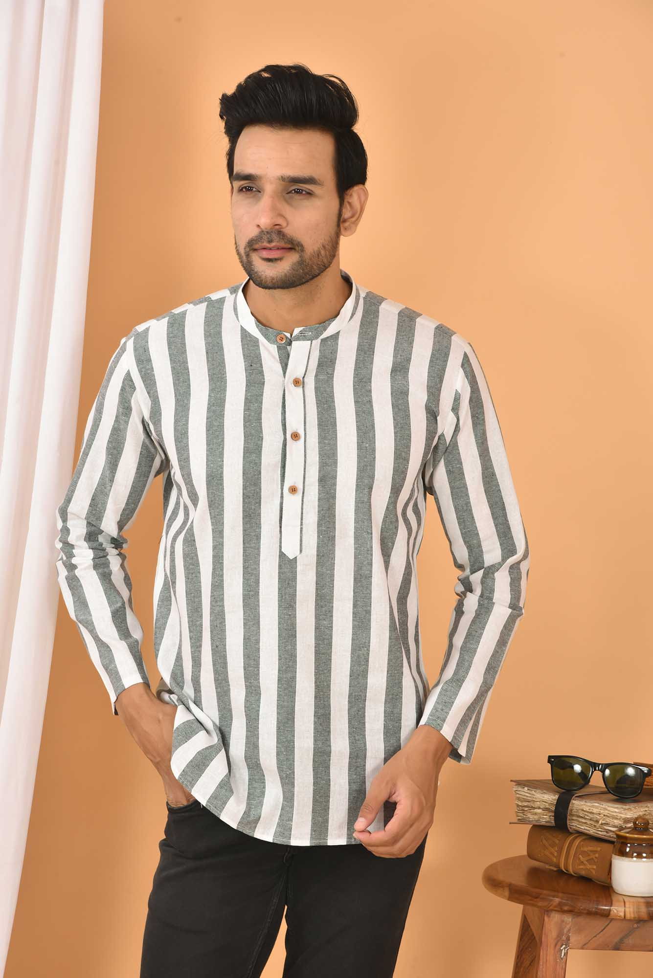 Cotton Handloom Stripe Short Kurta White and Gray-36826