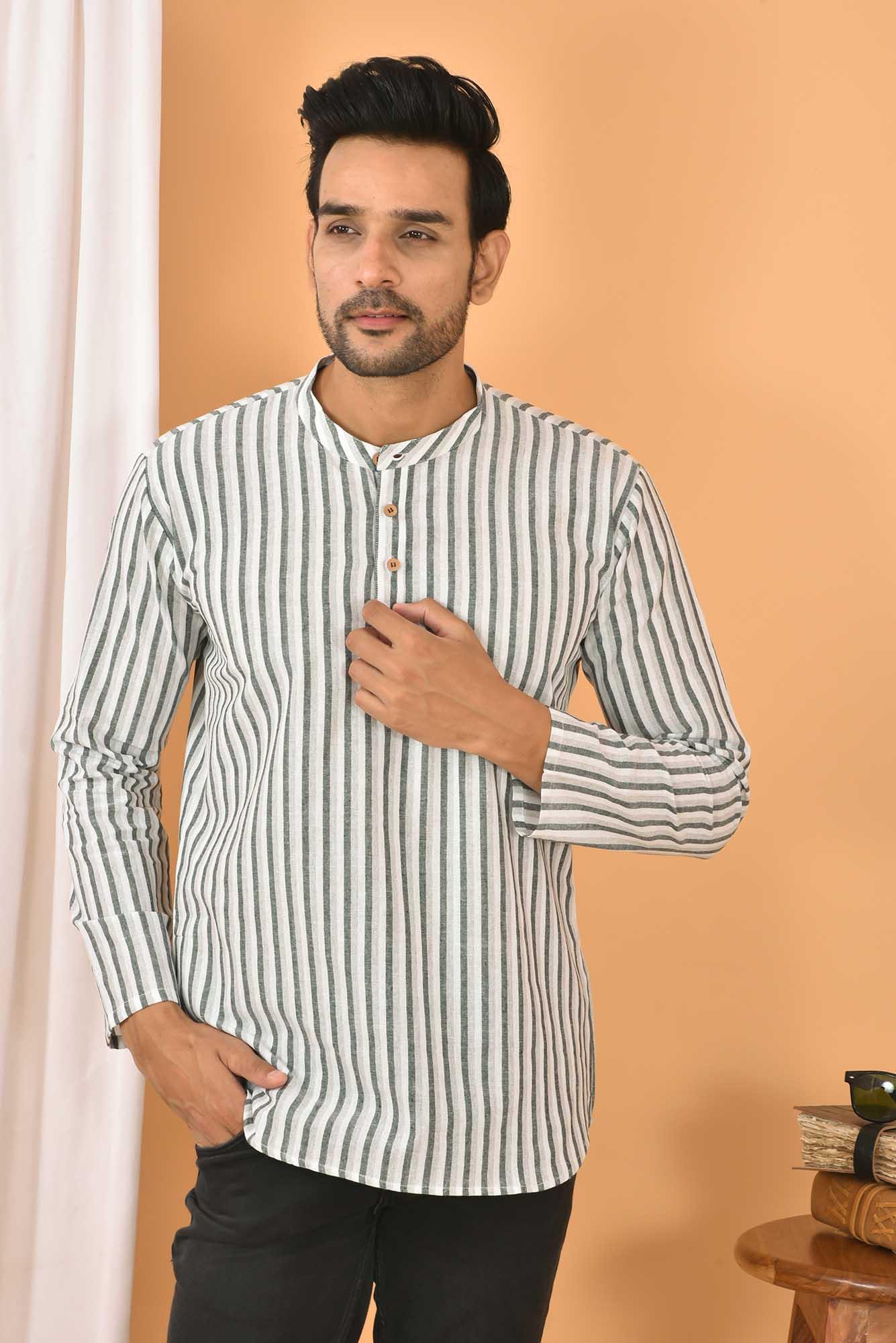 Cotton Handloom Stripe Short Kurta White and Gray-36838