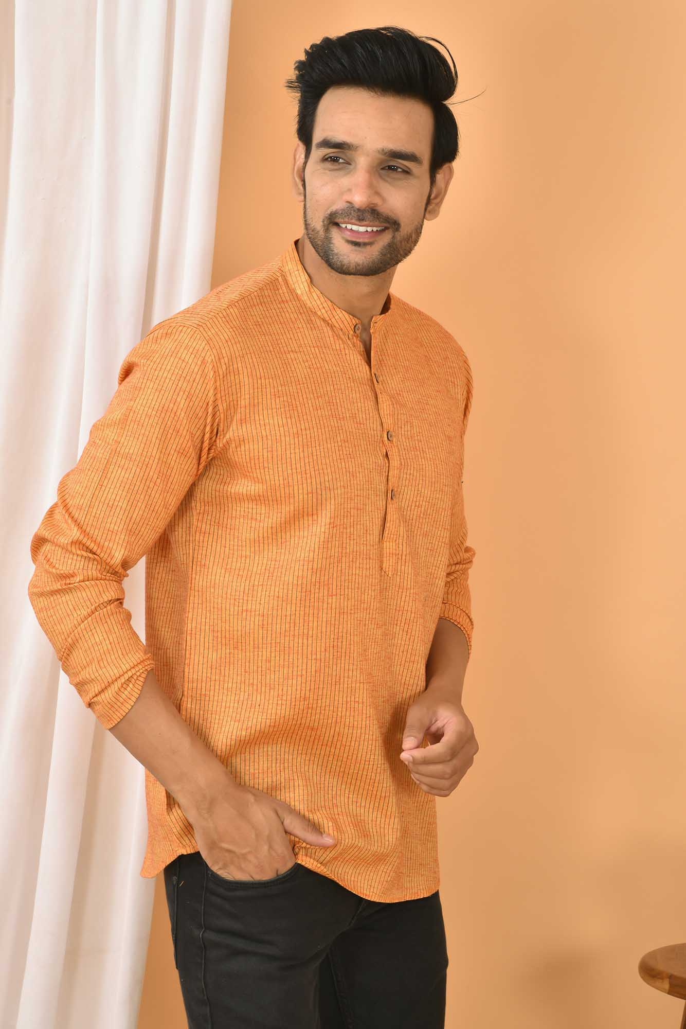 Cotton Handloom Stripe Short Kurta Yellow and Black-36836