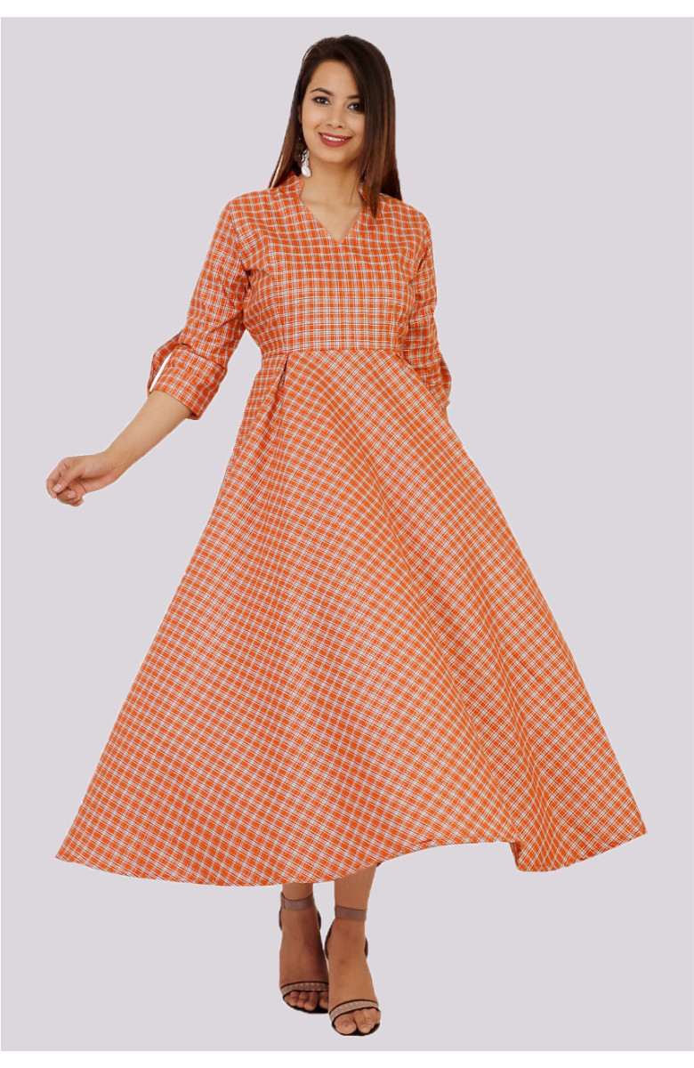 Orange-White Cotton check dress-kvk2-33621