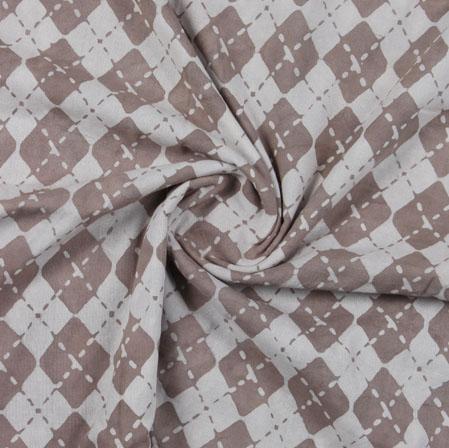 Cream Beige Block Print Cotton Fabric-16136