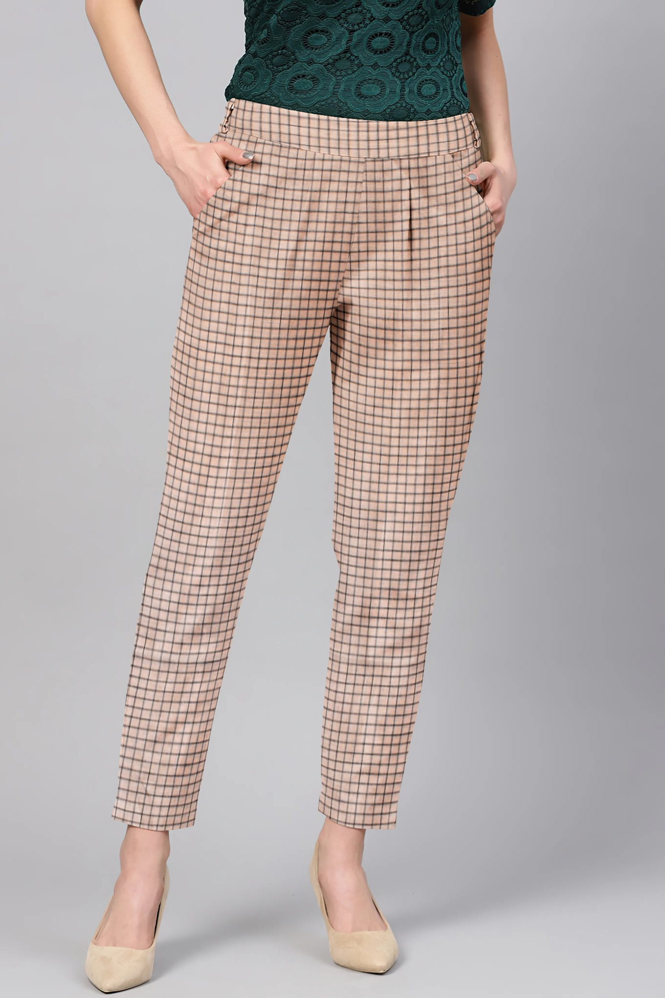 Cream Black Cotton Check Regular Fit Solid Trouser-36110