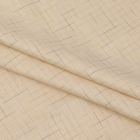 Shirt (2.25 Meter) Fabric-Cream Black Handloom-140586
