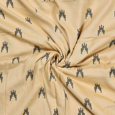 Cream Black Ikat Rayon Print Jacquard Fabric-28265
