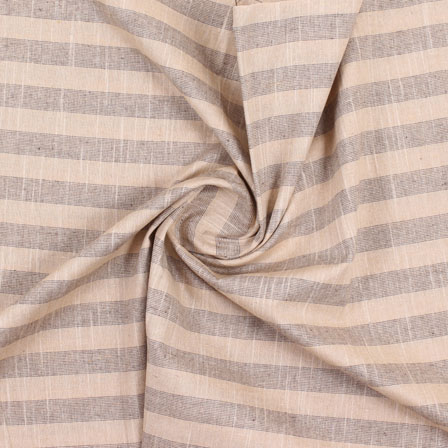 Cream Black Stripe Handloom Khadi Cotton Fabric-40482