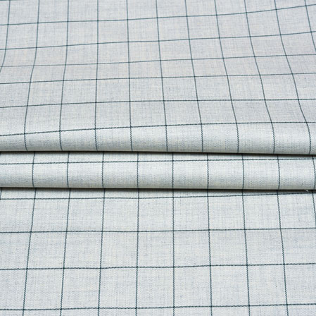 Cream Black Checks Wool Fabric-90234