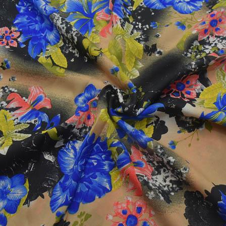 Cream-Black and Blue Floral Design Crepe Fabric-18062
