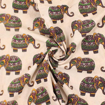 Cream-Black and Green Elephant  Kalamkari Cotton Fabric-10159