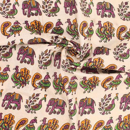 Cream-Black and Green Elephant Kalamkari Cotton Fabric-10162