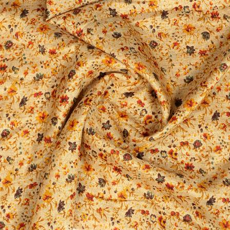 Cream-Black and Orange Floral Design Kalamkari Manipuri Silk Fabric-16276