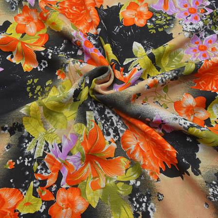 Cream-Black and Orange Flower Design Crepe Fabric-18047