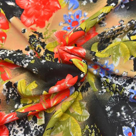 Cream-Black and Pink Floral Design Crepe Fabric-18034