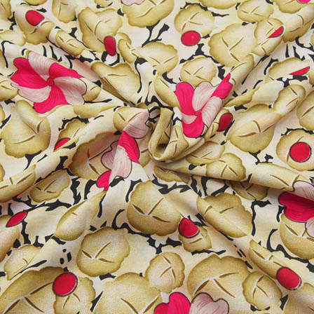 Cream-Black and Pink Flower Pattern Crepe Fabric-18081