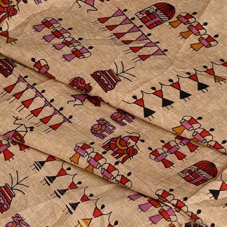 Cream-Black and Purple Warli Kalamkari Manipuri Silk Fabric-16346