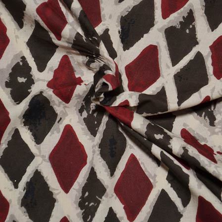 Cream-Black and Red Square Design Ajrakh Block Print Fabric-14060