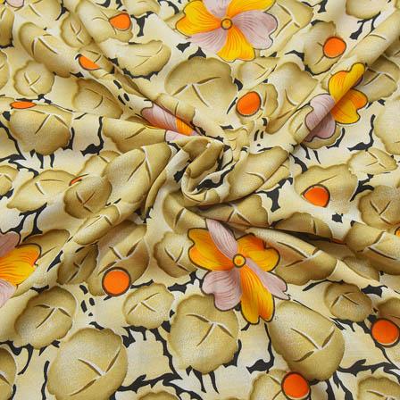 Cream-Black and Yellow Flower Design Crepe Fabric-18082