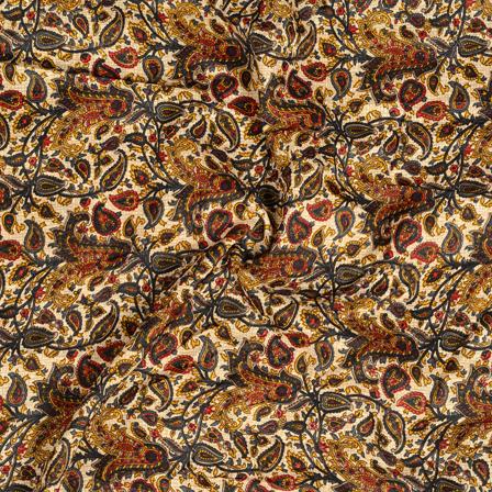 Cream-Black and Yellow Paisley Pattern Kalamkari Manipuri Silk Fabric-16271