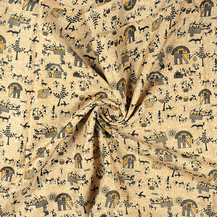 Cream-Black and Yellow Warli Design Kalamkari Manipuri Silk Fabric-16240