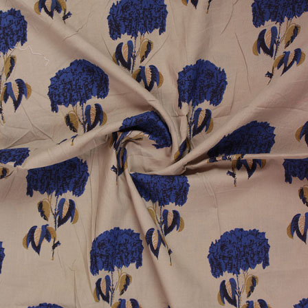 Cream Blue Block Print Cotton Fabric-14825