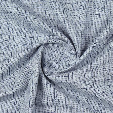 Cream Blue Block Print Cotton Fabric-16189