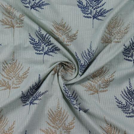 Cream Blue Block Print Cotton Fabric-16209