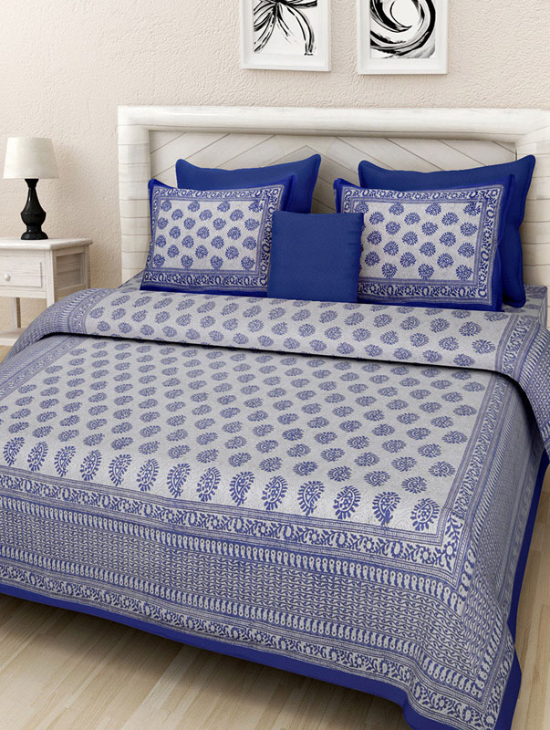 Cream Blue Cotton Jaipuri Bedsheet-668