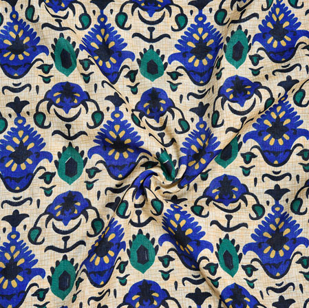 Cream Blue Floral Print Manipuri-Silk Fabric-18080