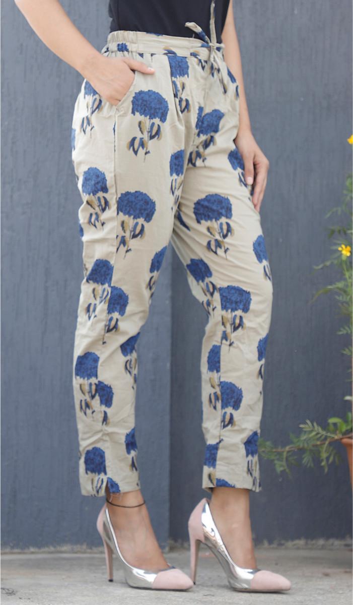 Cream Blue Mughal Block Print Cotton Pant-34084