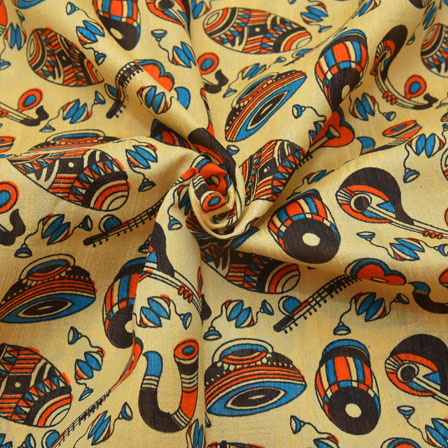 Cream-Blue and Black Musical Instruments Pattern Kalamkari Manipuri Silk-16068