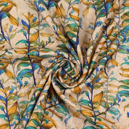 Cream Blue and Brown Manipuri Silk Fabric-16418