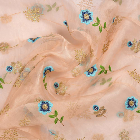 Cream-Blue and Golden Flower Design Embroidery Organza Fabric-51010