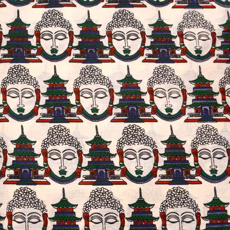 Cream-Blue and Green Buddha Shape Kalamkari Cotton Fabric-5581
