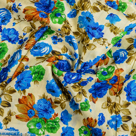 Cream-Blue and Green Flower Banglori Silk Fabric-37009