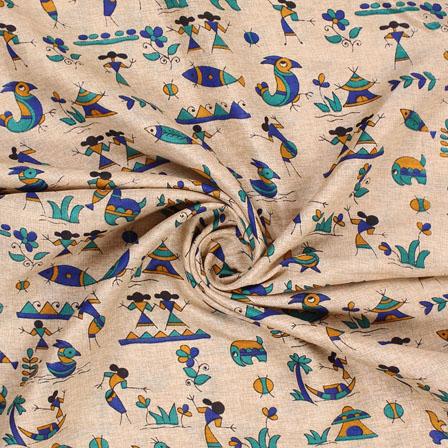 Cream Blue and Green Manipuri Silk Fabric-16404