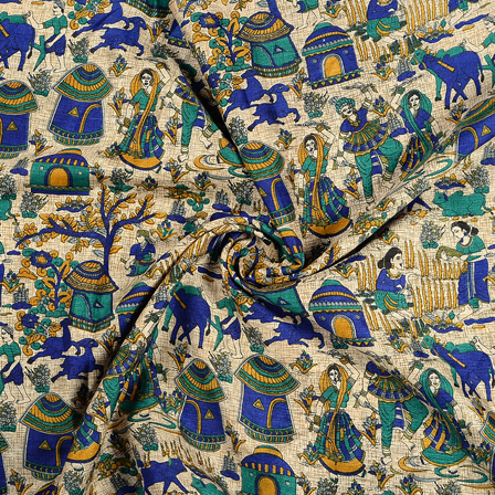 Cream-Blue and Green Village Design Kalamkari Manipuri Silk Fabric-16235