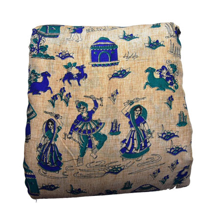 Cream-Blue and Green Warli Pattern Kalamkari Manipuri Silk-16137
